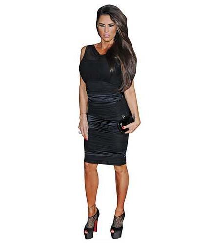 A Lifesize Cardboard Cutout of Katie Price wearing a knee length dress