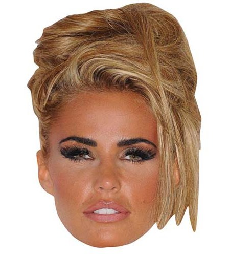 A Cardboard Celebrity Mask of Katie Price