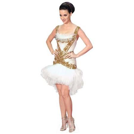 A Lifesize Cardboard Cutout of Katy Perry wearing a frilly skirt