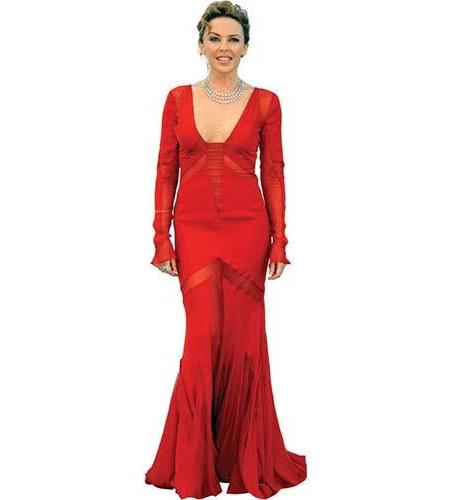 A Lifesize Cardboard Cutout of Kylie Minogue wearing a red dress
