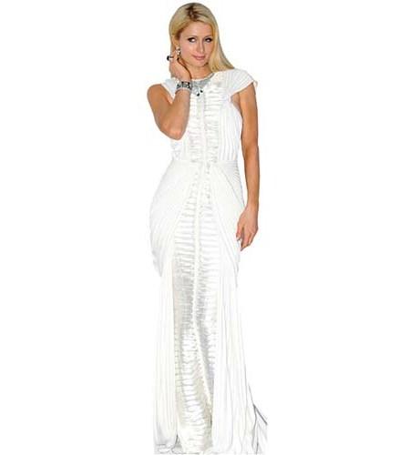 A Lifesize Cardboard Cutout of Paris Hilton wearing a white dress