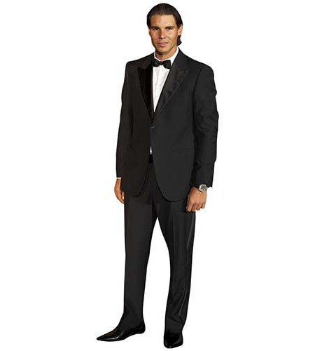 A Lifesize Cardboard Cutout of Rafael Nadal wearing a dinner jacket and bowtie