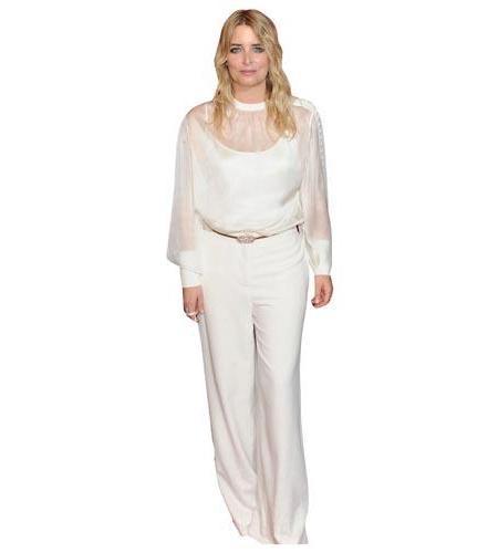 A Lifesize Cardboard Cutout of Emma Atkins wearing white trousers