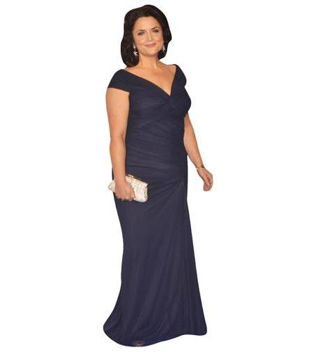 A Lifesize Cardboard Cutout of Ruth Jones wearing a full length gown