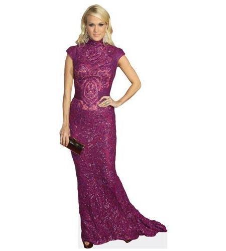 A Lifesize Cardboard Cutout of Carrie Underwood wearing a purple dress