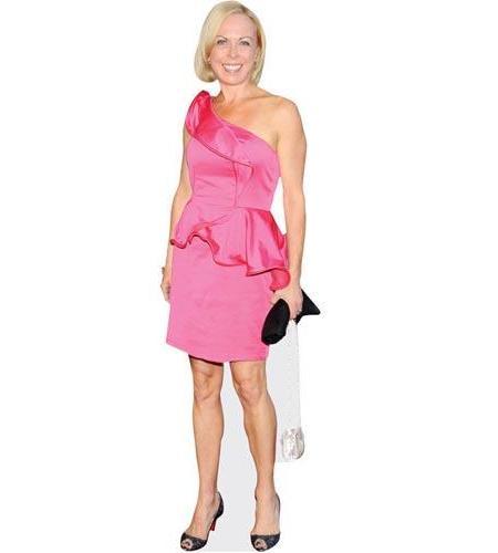 A Lifesize Cardboard Cutout of Jayne Torvill wearing a pink dress