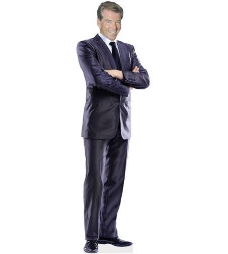 A Lifesize Cardboard Cutout of Pierce Brosnan wearing a suit