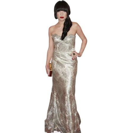 A Lifesize Cardboard Cutout of Carly Rae Jepsen wearing a gown