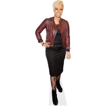 A Lifesize Cardboard Cutout of Emeli Sande wearing a leather jacket