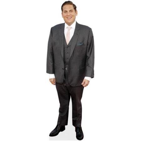 A Lifesize Cardboard Cutout of Jonah Hill wearing a suit