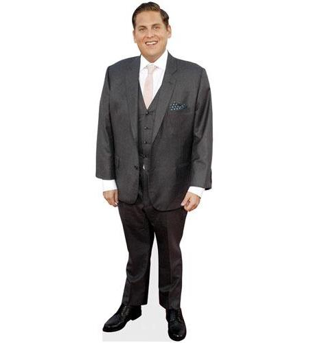 A Lifesize Cardboard Cutout of Jonah Hill wearing a suit