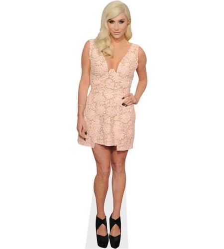 A Lifesize Cardboard Cutout of Kesha wearing a gown