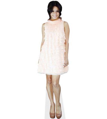 A Lifesize Cardboard Cutout of Vanessa Hudgens wearing a white dress