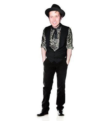 A Lifesize Cardboard Cutout of Mark Owen wearing a hat
