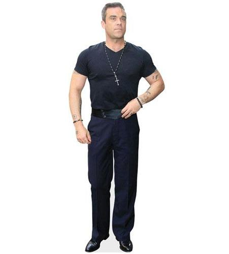 A Lifesize Cardboard Cutout of Robbie Williams wearing a t-shirt