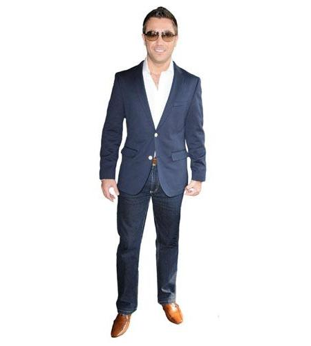 A Lifesize Cardboard Cutout of Gino D'Acampo wearing a suit