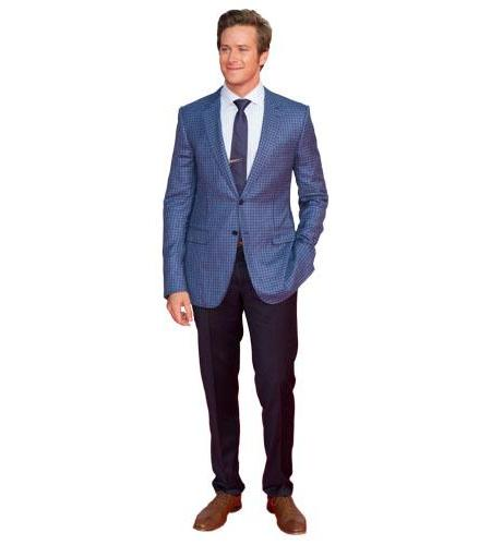 A Lifesize Cardboard Cutout of Armie Hammer wearing a suit