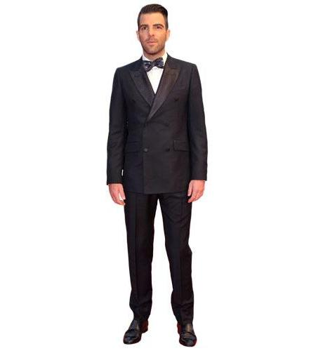 A Lifesize Cardboard Cutout of Zachary Quinto wearing a bow tie