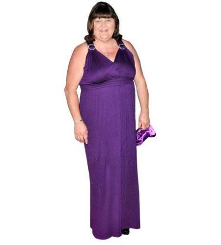 A Lifesize Cardboard Cutout of Cheryl Fergison wearing a gown