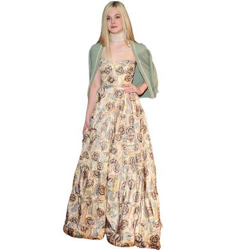 A Lifesize Cardboard Cutout of Elle Fanning wearing a gown