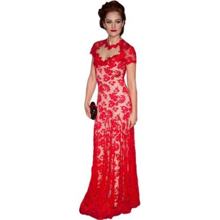 A Lifesize Cardboard Cutout of Paula Lane wearing a red gown