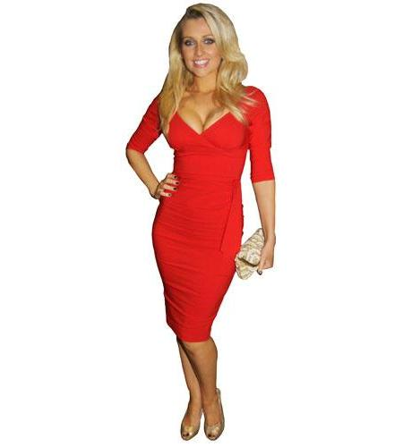 A Lifesize Cardboard Cutout of Gemma Merna wearing red