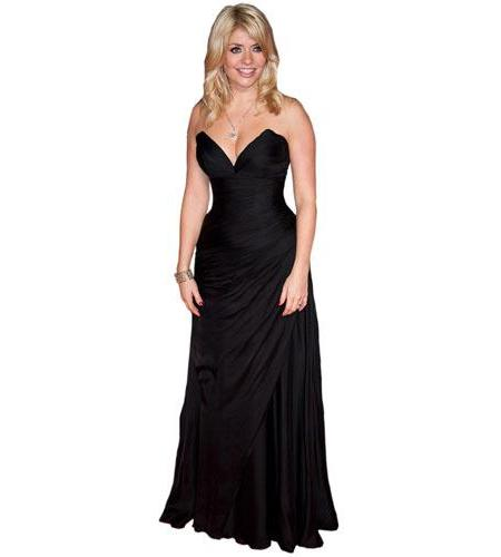 A Lifesize Cardboard Cutout of Holly Willoughby wearing a long black dress