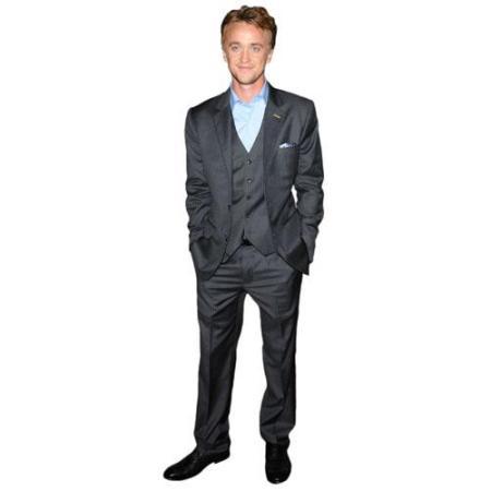 A Lifesize Cardboard Cutout of Tom Felton wearing a suit