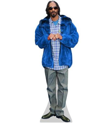A Lifesize Cardboard Cutout of Snoop Dog wearing a blue jacket