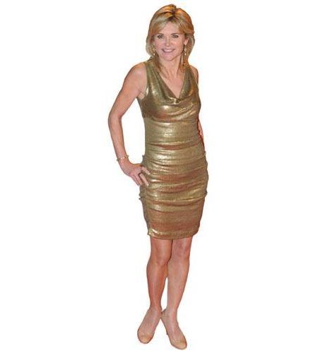 A Lifesize Cardboard Cutout of Anthea Turner wearing a gold dress