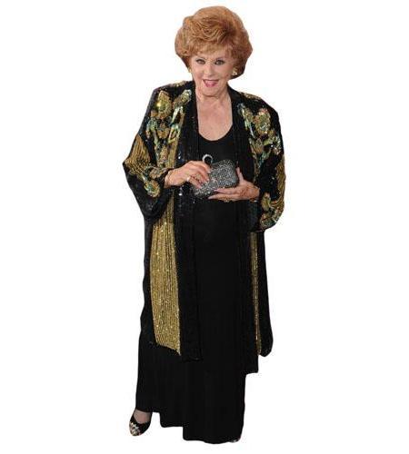 A Lifesize Cardboard Cutout of Barbara Knox wearing a dress