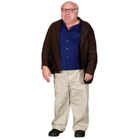 A Lifesize Cardboard Cutout of Danny Devito wearing a jacket