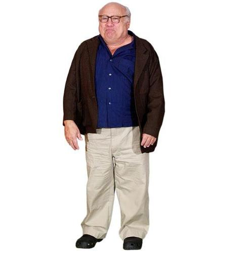 A Lifesize Cardboard Cutout of Danny Devito wearing a jacket