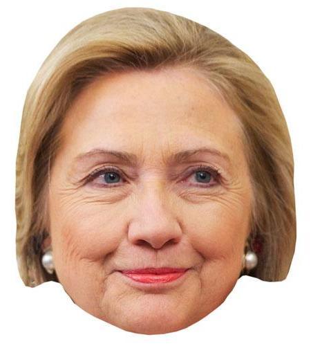 A Cardboard Celebrity Mask of Hilary Clinton