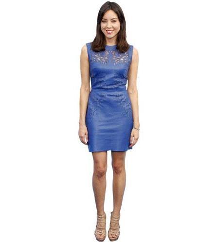 A Lifesize Cardboard Cutout of Aubrey Plaza wearing a blue dress
