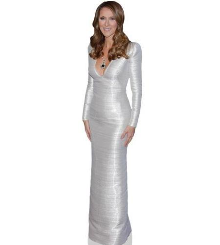 A Lifesize Cardboard Cutout of Celine Dion wearing a silver gown