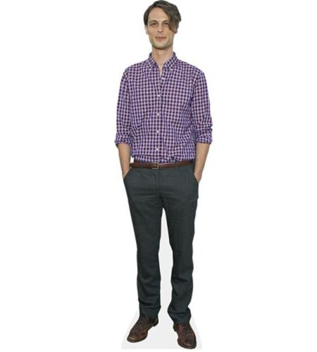A Lifesize Cardboard Cutout of Matthew Gray Gubler wearing a shirt