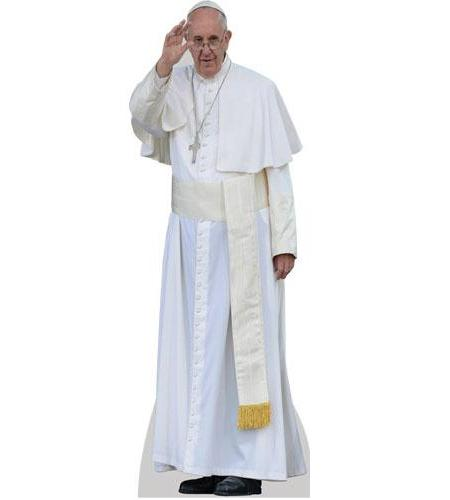 A Lifesize Cardboard Cutout of Pope Francis wearing robes