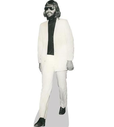 A Lifesize Cardboard Cutout of Ringo Starr wearing a white suit