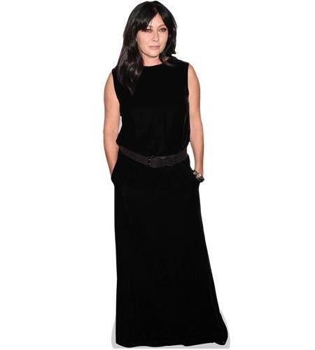A Lifesize Cardboard Cutout of Shannen Doherty wearing a long black dress