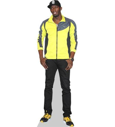 A Lifesize Cardboard Cutout of Usain Bolt wearing a hat