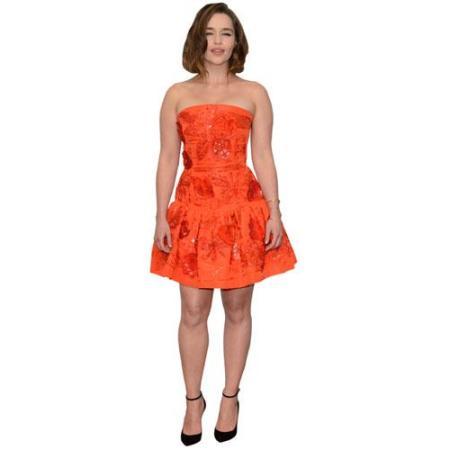 A Lifesize Cardboard Cutout of Emilia Clarke wearing a short dress