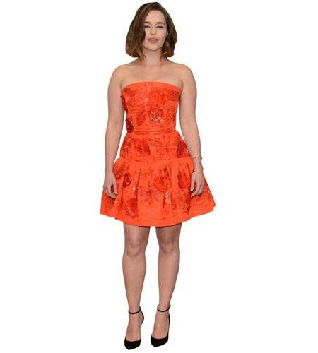 A Lifesize Cardboard Cutout of Emilia Clarke wearing a short dress