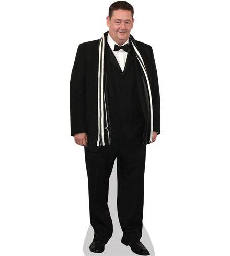 A Lifesize Cardboard Cutout of Johnny Vegas wearing a suit