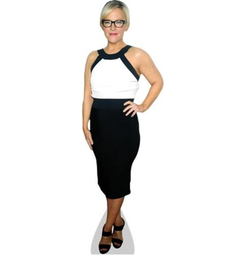 A Lifesize Cardboard Cutout of Rachael Harris wearing black and white