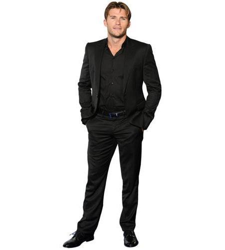 A Lifesize Cardboard Cutout of Scott Eastwood wearing a suit