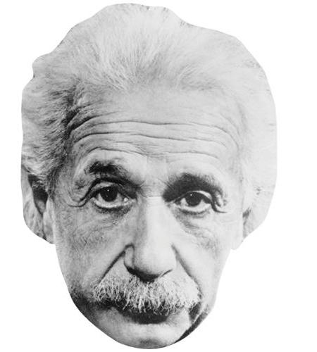 A Cardboard Celebrity Big Head of Albert Einstein (B&W)