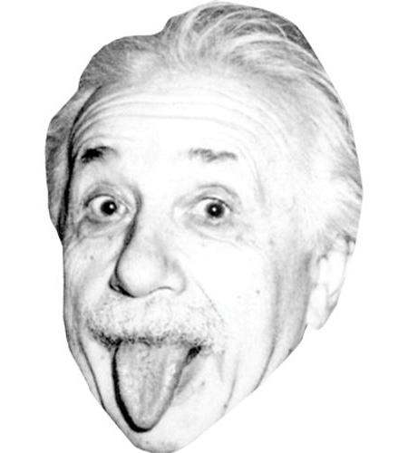 A Cardboard Celebrity Big Head of Albert Einstein (Tongue)