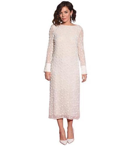 A Lifesize Cardboard Cutout of Anna Friel wearing a white dress