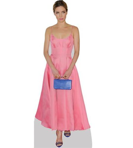 A Lifesize Cardboard Cutout of Annabelle Wallis wearing a pink dress